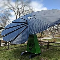 A photo of a Solar Flower, a specialized device with solar panels arranged like a flower