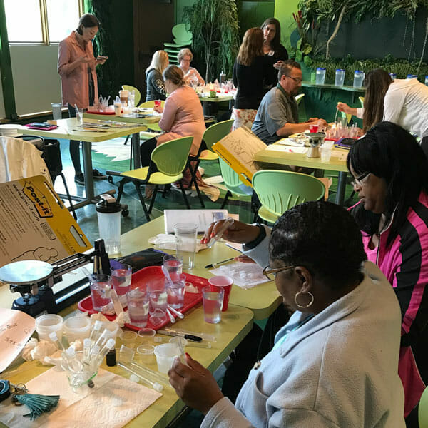 Teachers in a hands-on workshop