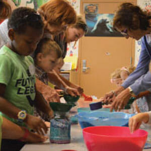 Children in a hands-on learning lab